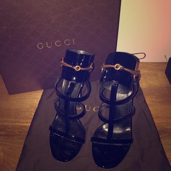 17a1d59ddcf Gucci Shoes - Gucci Ursula Patent Ankle-Wrap Cage Sandal